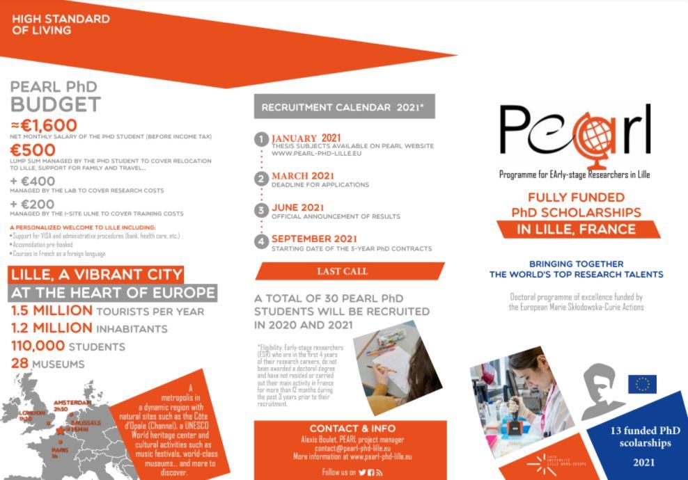 Deadline 31 mars 2021 : Appel à candidatures Programme Pearl
