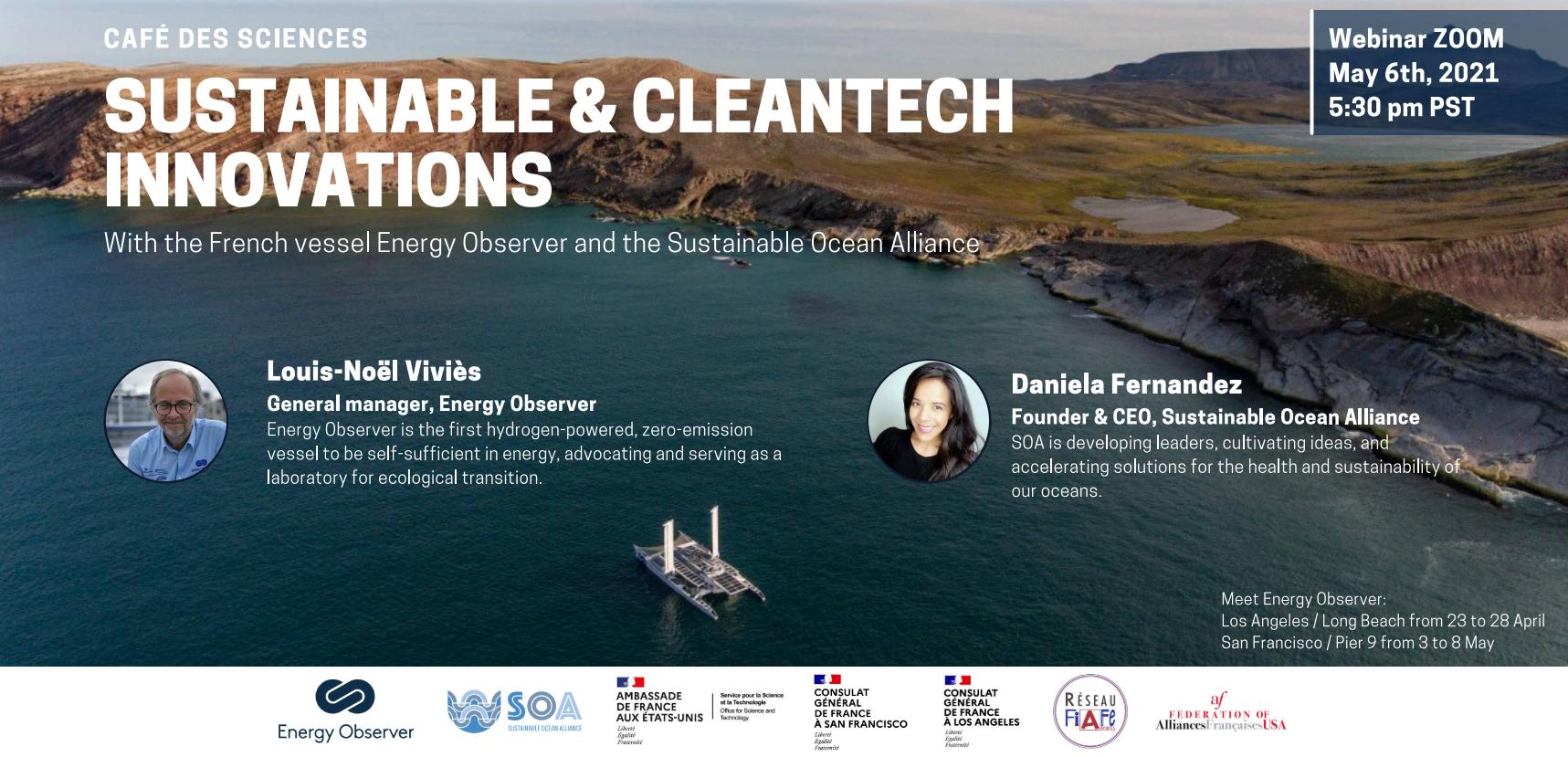 Café des Sciences SF et LA le 6 mai 2021 // Sustainable and Cleantech Innovations avec EO et SOA