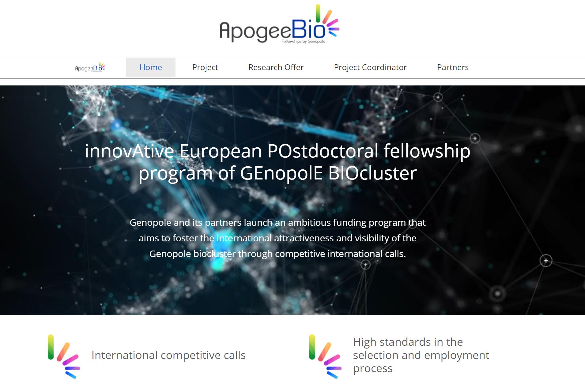 Programme européen innovant de bourses de recherche postdoctorale du GEnopole BIOcluster  ApogeeBio